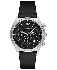 Emporio Armani Men's Chronograph Black Leather Strap Watch 43mm AR1975