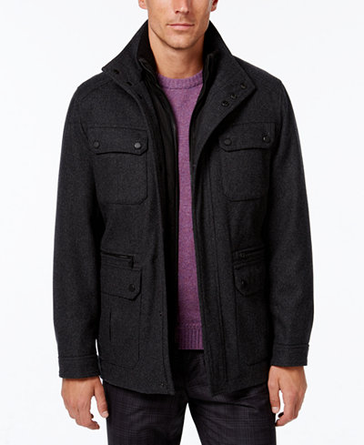 Michael Kors Men's Wool-Blend Field Coat with Attached Bib