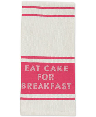 """""""Eat Cake For Breakfast"""" Diner Stripe Kitchen Towel by Kate Spade New York"""