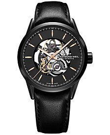 Raymond Weil Men's Swiss Automatic Freelancer Black Leather Strap Watch 43mm 2715-BKC-20021