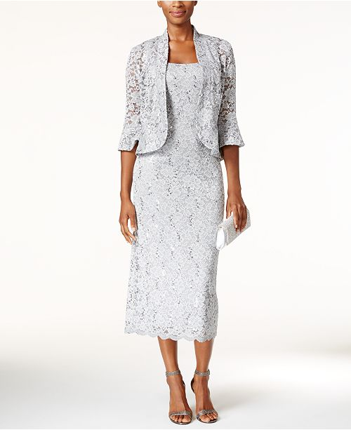 7ad47915a45 R   M Richards Sequined Lace Midi Dress and Jacket   Reviews ...