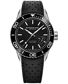 Raymond Weil Men's Swiss Automatic Freelancer Black Rubber Strap Watch 43mm 2760-SR1-20001