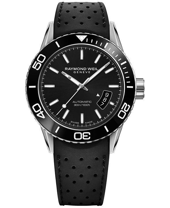 Raymond Weil Men's Swiss Automatic Freelancer Black Rubber Strap Watch 43mm 2760-SR1-20001