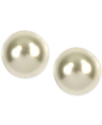 Image of Anne Klein Gold-Tone Imitation Pearl Stud Earrings