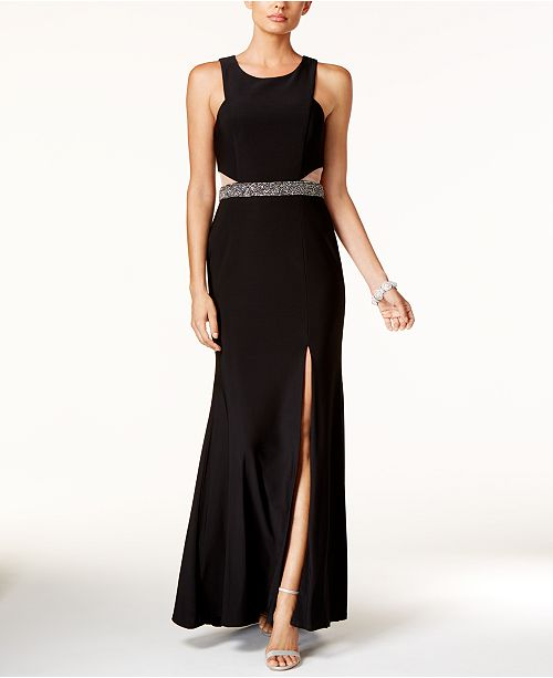 XSCAPE Illusion Cutout Embellished Halter Gown