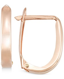 Polished U-Hoop Earrings in 10k Gold