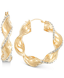 Signature Diamonds™ Twisted-Swirl Hoop Earringsin 14k Gold over Resin Core Diamond and Crystallized Diamond Dust