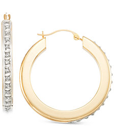 Signature Diamonds™ Flat Hoop Earrings in 14k Gold over Resin Core Diamond and Crystallized Diamond Dust