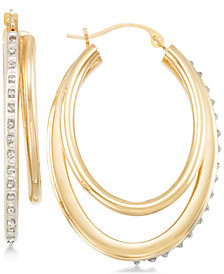 Signature Diamonds™ Double Oval Hoop Earrings in 14k Gold over Resin Core Diamond and Crystallized Diamond Dust