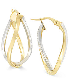 Two-Tone Interlocking Twisted Oval Hoop Earrings in 10k Yellow and White Gold