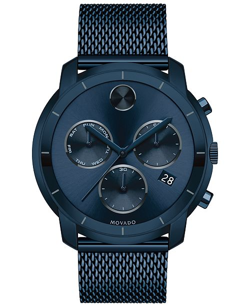 ff2b49df1 ... Movado Men's Swiss Chronograph Bold Ink Blue Ion-Plated Stainless Steel  Bracelet Watch 44mm 3600403 ...