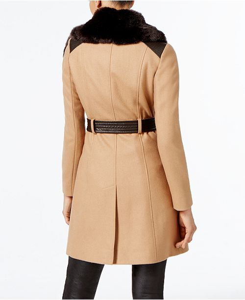 d1dbfaf3f6f Via Spiga Faux-Fur-Collar Asymmetrical Belted Coat   Reviews - Coats ...