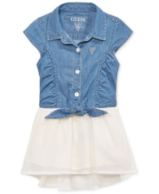guess factory outlet canada e0g5  GUESS' High-Low Denim Dress, Little Girls