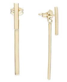 Polished Double Bar Drop Front and Back Earrings in 14k Gold
