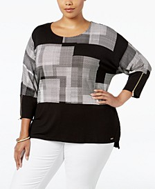 Plus Size Printed Dolman-Sleeve Top