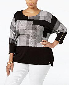 Calvin Klein Plus Size Printed Dolman-Sleeve Top