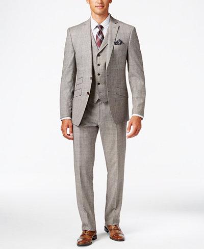 Tallia Men's Slim-Fit Tan/Black Glen Plaid Vested Suit