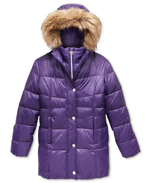 6640b66dc Michael Kors Stadium Puffer Jacket with Faux-Fur Trim