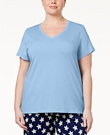 Hue Plus Size V-Neck Pajama Top & Knit Pants