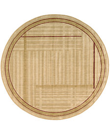 CLOSEOUT! Nourison Round Area Rug, Somerset ST17 Lines Gold 5' 6""