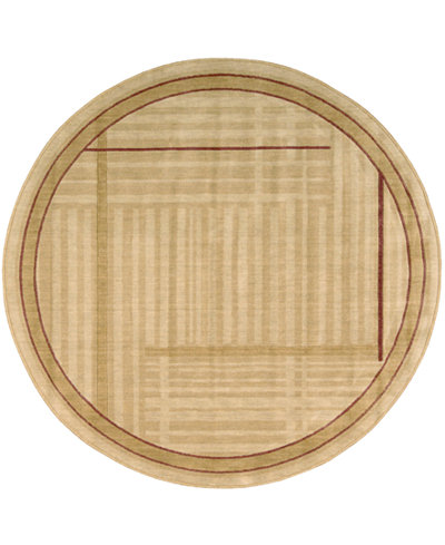 CLOSEOUT! Nourison Round Area Rug, Somerset ST17 Lines Gold 5' 6