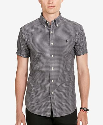Polo Ralph Lauren Men's Short-Sleeve Checked Poplin Shirt - Casual ...
