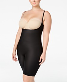 SPANX Women's  Plus Size Two-Timing Open-Bust Mid-Thigh Bodysuit 10048P
