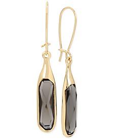 Gold-Tone Jet Stone Sculptural Drop Earrings