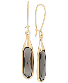 Robert Lee Morris Soho Gold-Tone Jet Stone Sculptural Drop Earrings