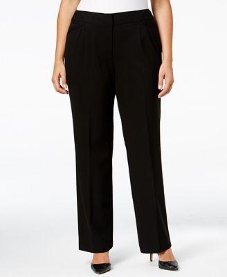 Tahari ASL Plus Size Straight-Leg Trousers