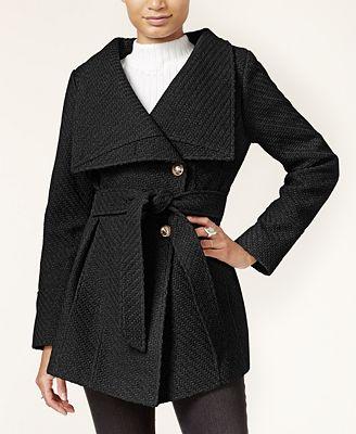 Jessica Simpson Asymmetrical Belted Walker Coat Coats