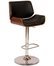 London Swivel Barstool In Cream PU/ Walnut Veneer and Chrome Base