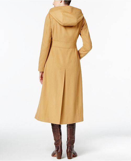 Anne Klein Hooded Wool Blend Double Breasted Maxi Coat