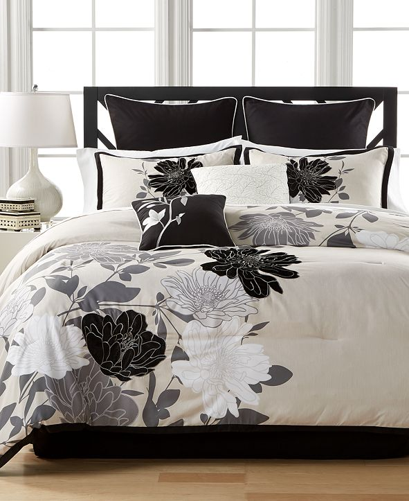 Hallmart Collectibles  Midnight Flowers 8-Pc. Queen Comforter Set
