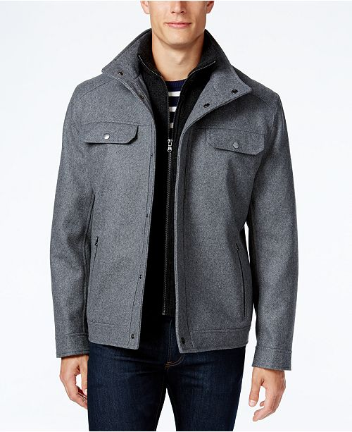 Michael Kors Michael Kors Men's Wool-Blend Layered Military Coat
