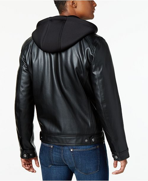 Michael Kors Mens Faux Leather Hooded Bomber Jacket