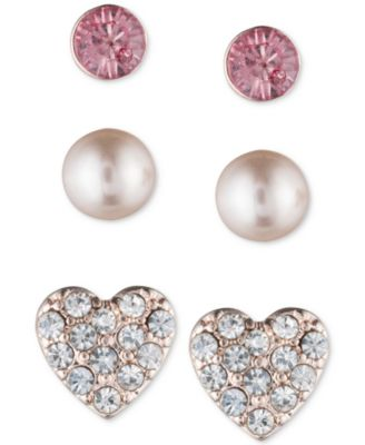 Rose Gold-Tone 3-Pc. Set Stud Earrings