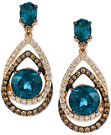 Chocolatier London Blue Topaz (7-3/4 ct. t.w.) and Diamond (1-1/3 ct. t.w.) Interlocking Teardrop Drop Earrings in 14k Rose Gold, Created for Macy's