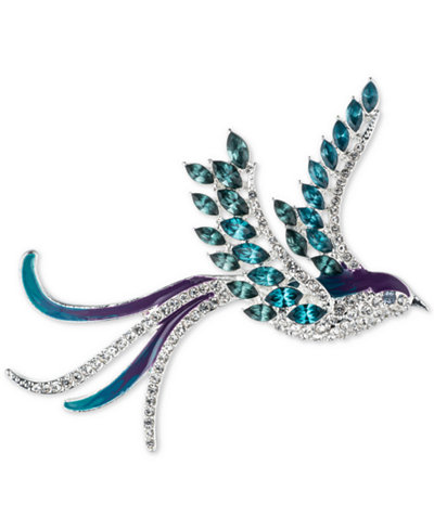Anne Klein Silver-Tone Bluebird Pavé and Crystal Pin, Created for Macy's