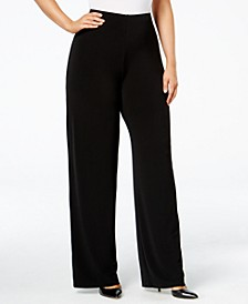 Petite Plus Size Knit Wide-Leg Pant, Created for Macy's