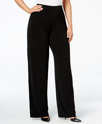 Alfani Petite Plus Size Wide-Leg Soft Pants, Created for Macy's