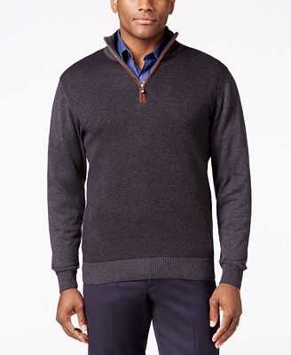 Tricots St Raphael Quarter-Zip Faux-Suede Trim Herringbone Sweater