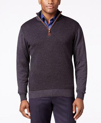 Tricots St Raphael Quarter-Zip Faux-Suede Trim Herringbone Sweater