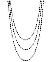 INC International Concepts Silver-tone Jet Stone Triple Layer Necklace, Created for Macy's