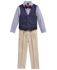 Nautica Little Boys' 3-Pc. Bowtie, Check Shirt, Navy Vest and Khaki Pant Suit Set, Little Boys