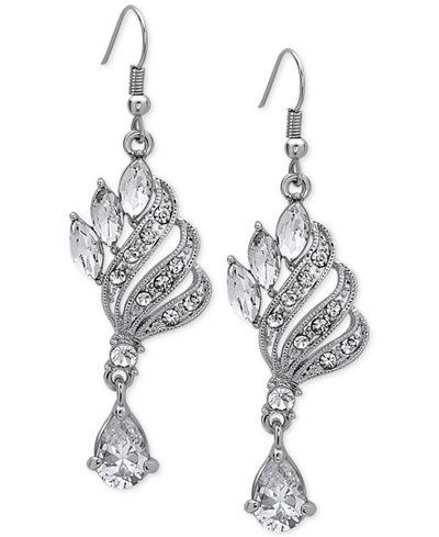 Nina Silver-Tone Filigree Crystal Chandelier Earrings - Jewelry ...