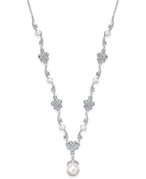 Danori Silver-Tone Crystal Flower and Imitation Pearl Necklace, Created for Macy's