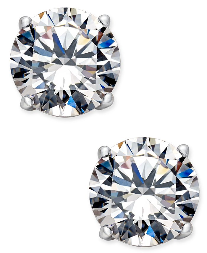 Eliot Danori - Silver-Tone Crystal Stud Earrings