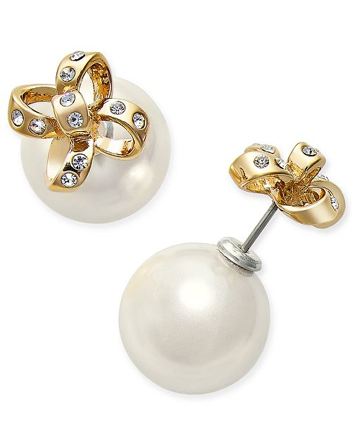 d60d484fd Kate Spade New York Gold Tone Imitation Pearl And Pavé Bow