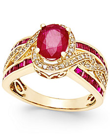 Ruby (2-3/4 ct. t.w.) and Diamond (1/3 ct. t.w.) Ring in 14k Yellow Gold (Also Available in Emerald & Sapphire)